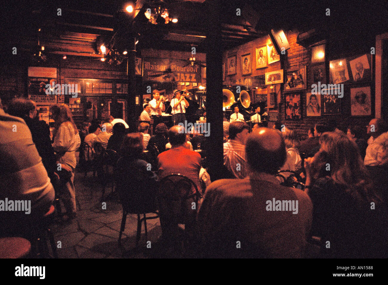 Jazz band and patrons in maison bourbon jazz club french quarter new orleans louisiana