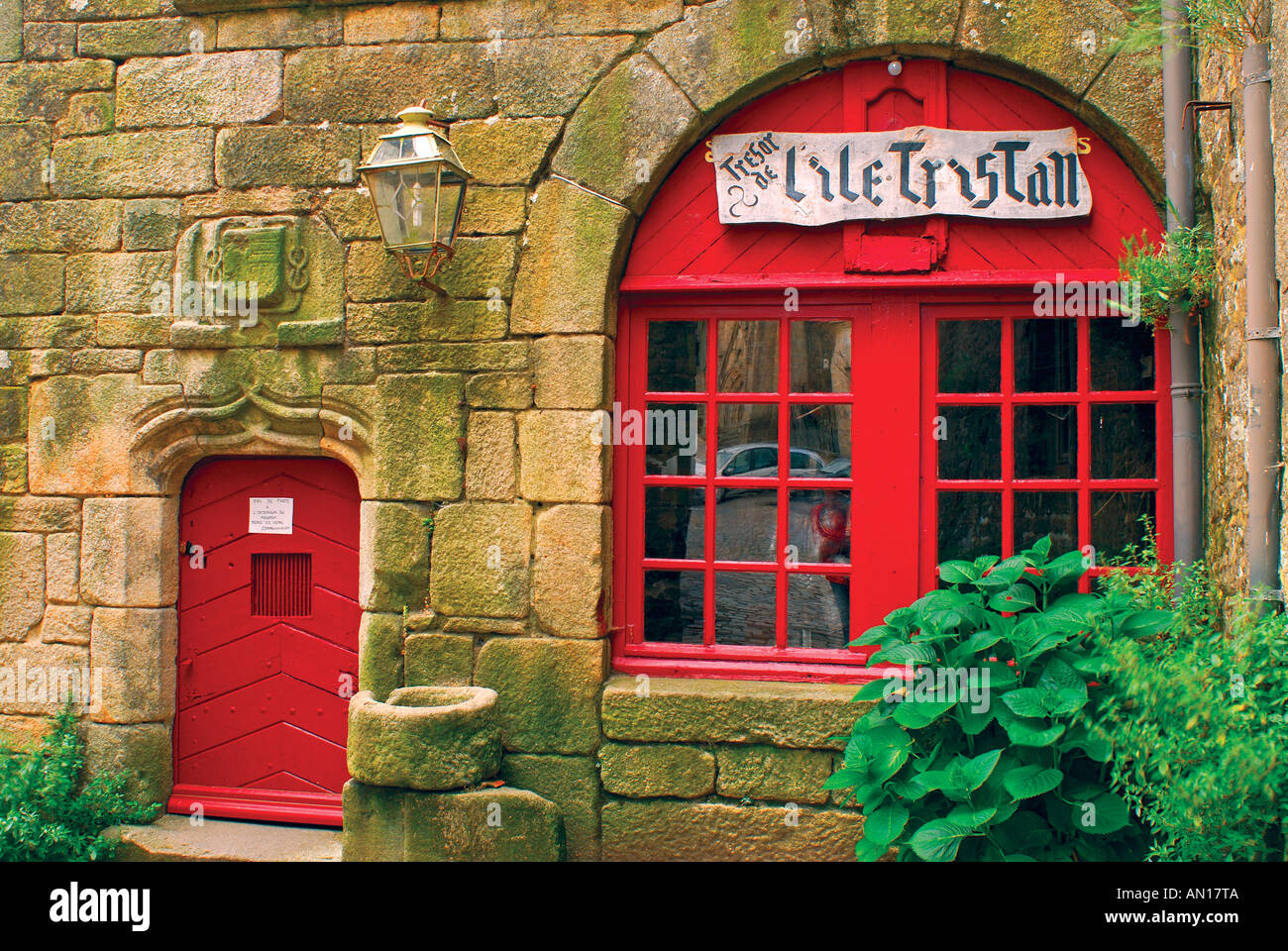 Red Doors Stone : Red door and window of medieval stone house locronan