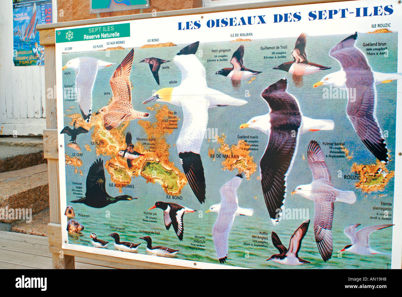Information signal of the natural park Sept Ile, harbour of Ploumanc´h, Brittany, France - Stock Image