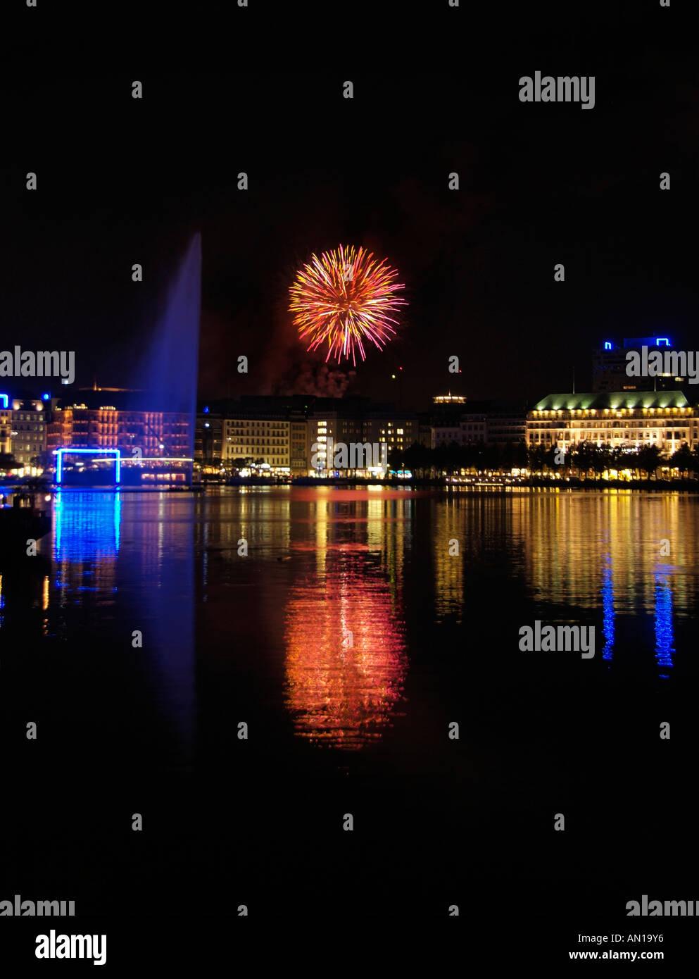 Landmark of Hamburg, Germany, Northern Europe, Location of the Binnenalster City, - Stock Image