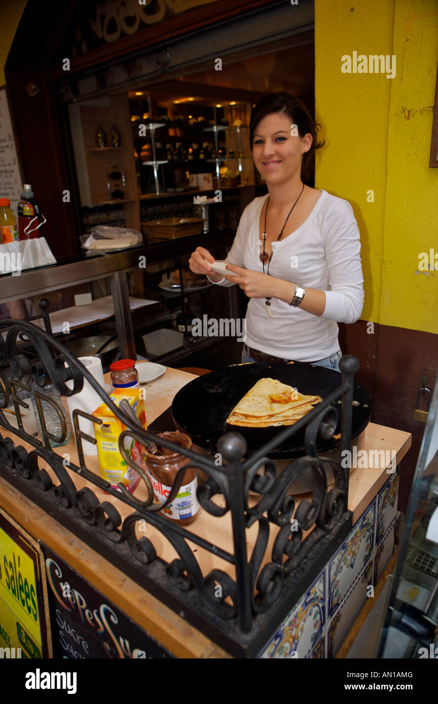 Crepe making in the Place Centrale in the Old Town of Nice, Provence, Cote d'Azur, France, Europe. - Stock Image