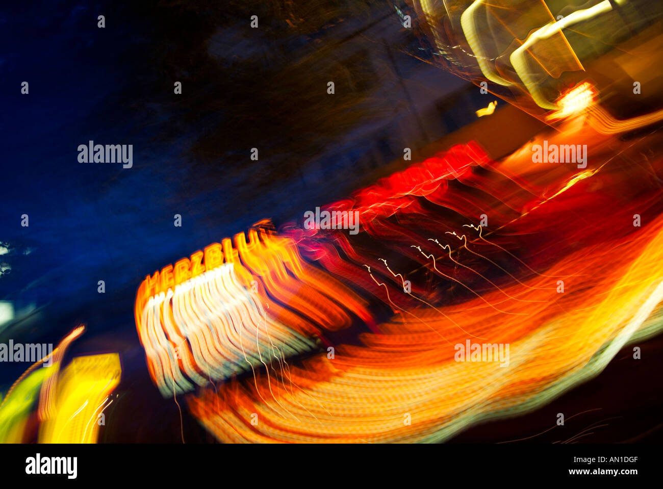 Hamburg Germany Northern Europe at night,  dynamic drive by car trough the legendary Reeperbahn - Stock Image