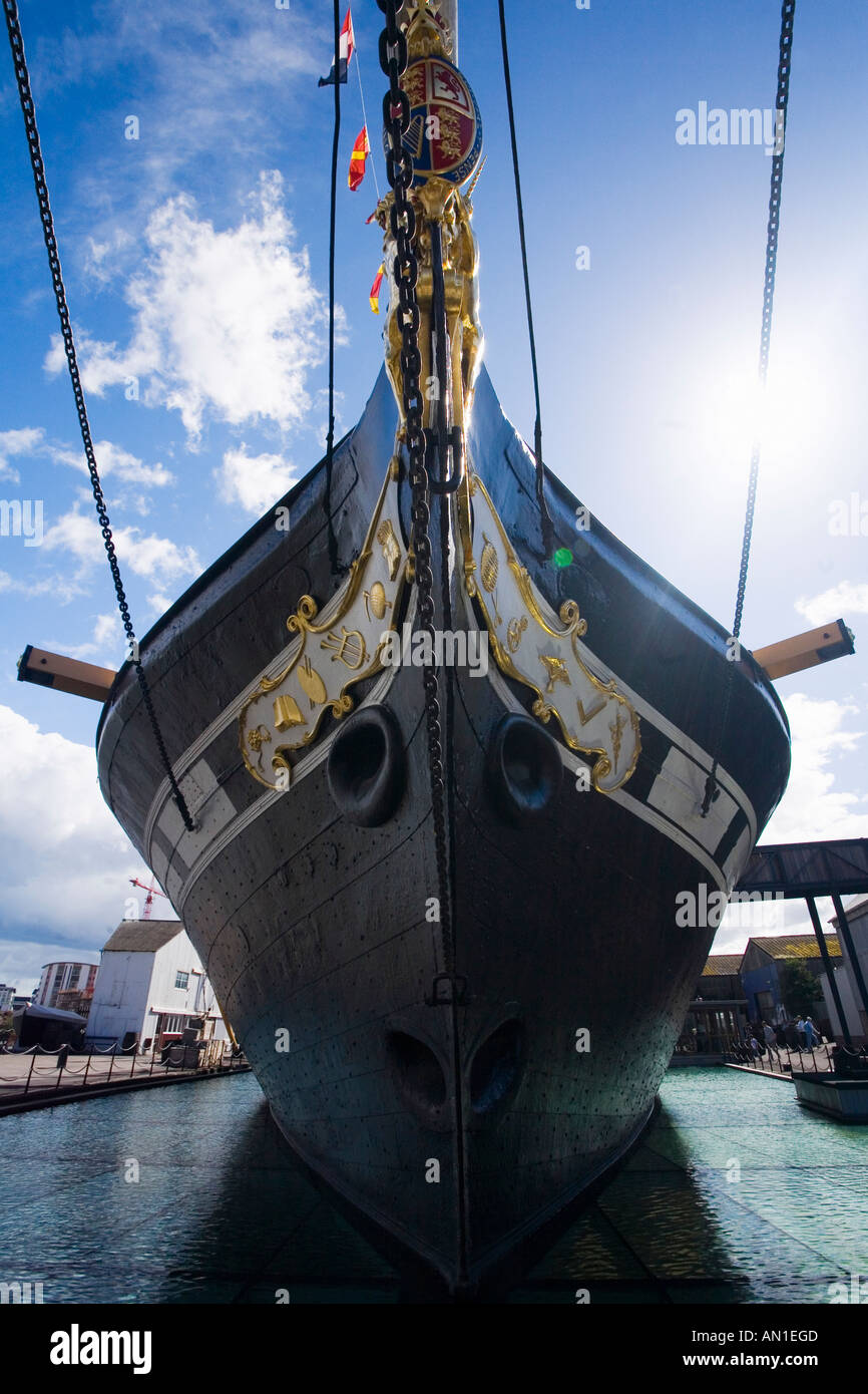 SS Great Britain the world's first large iron ship on sunny summers day with blue sky and white clouds Bristol Avon Somerset UK - Stock Image