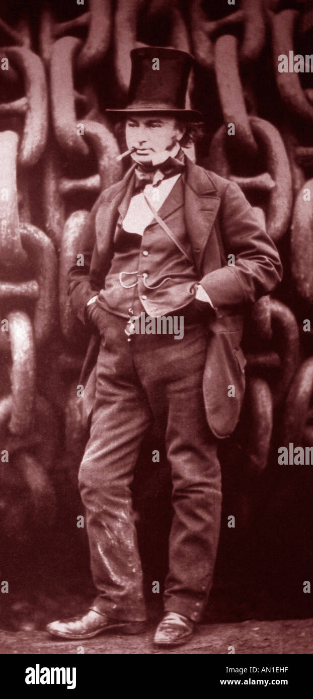 Isambard Kingdom Brunel the famous english victorian engineer and inventor in an iconic pose - Stock Image