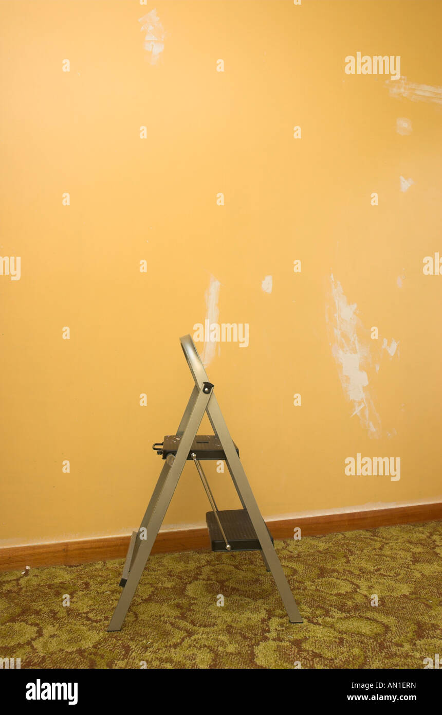Walls stripped and prepared for painting while decorating a room ...