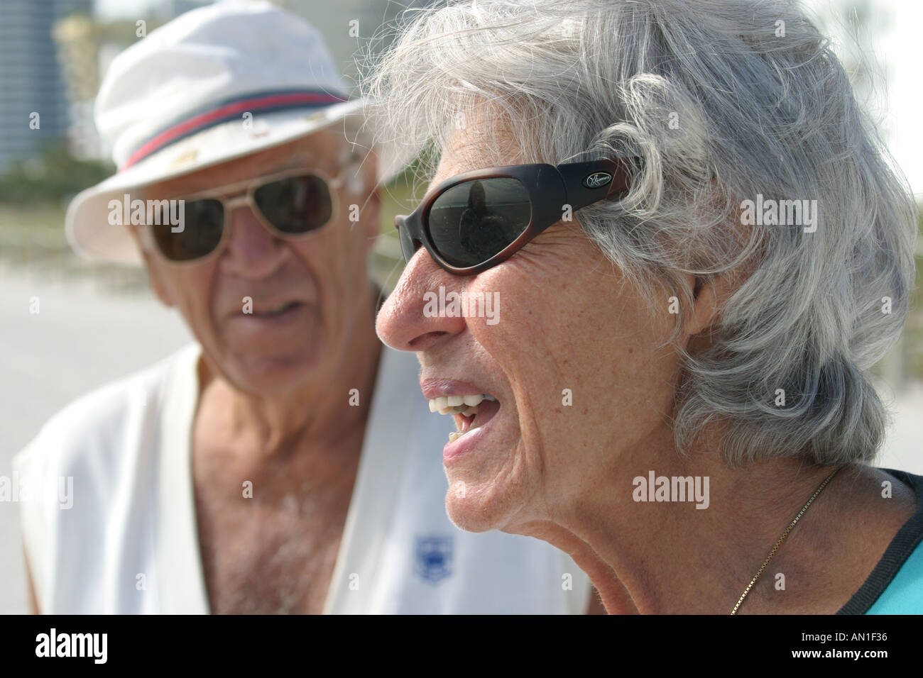 1beb8522dd0 Miami Beach Florida Atlantic shore senior couple sunglasses - Stock Image
