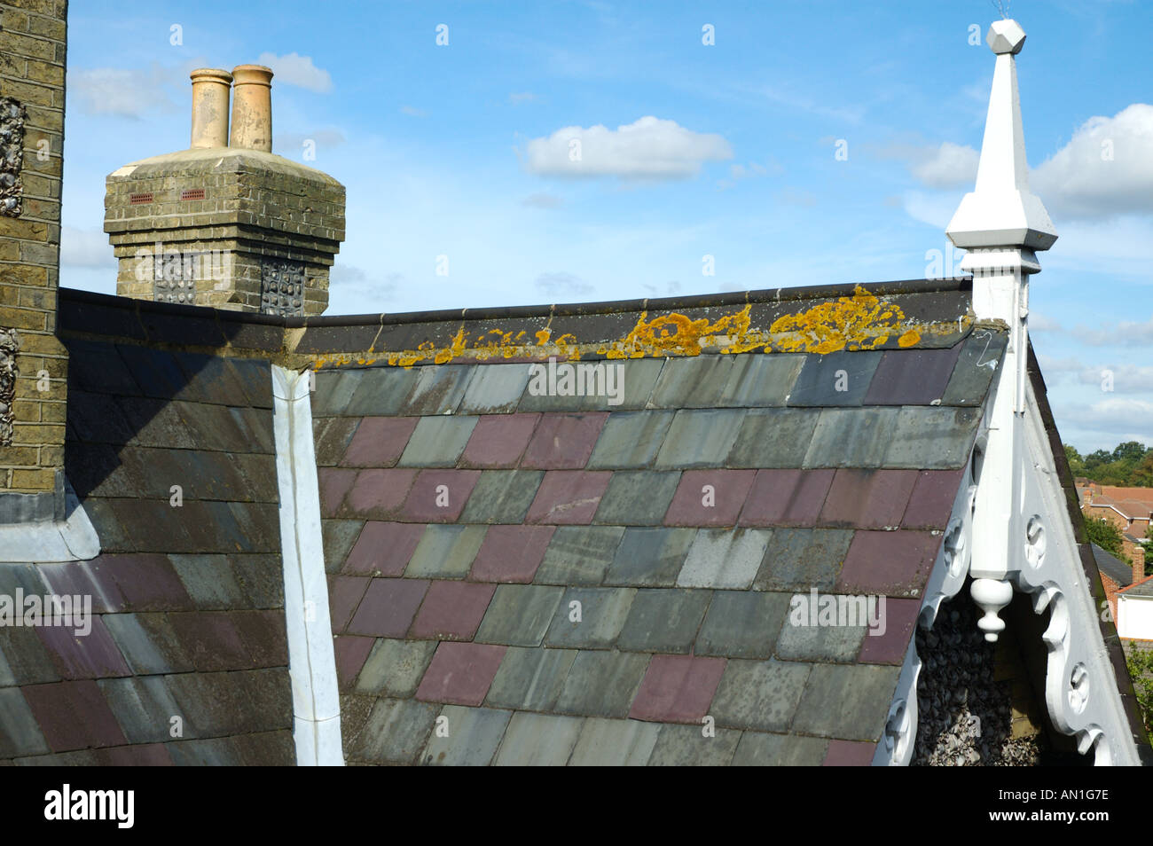 Slated Roof And Ornamental Finial And Barge Boards On