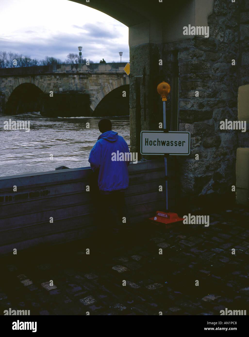flood of Danube in Regensburg Bavaria Germany Europe. Photo by Willy Matheisl - Stock Image