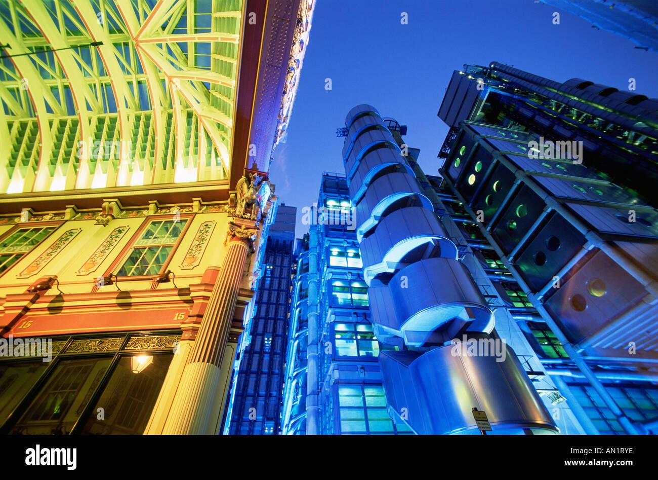 England,London,Leadenhall Street Market and Lloyds Building - Stock Image