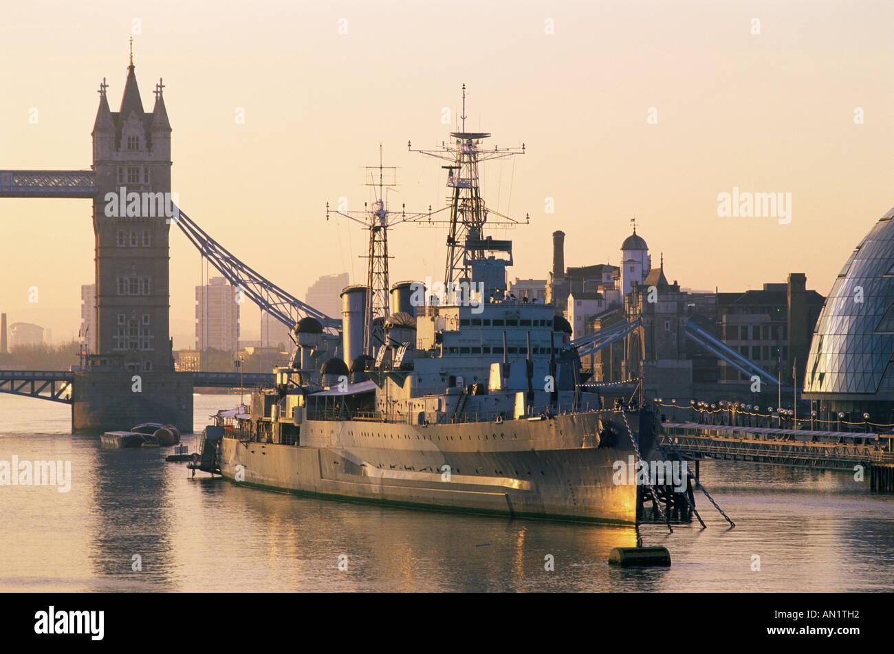 England,London,Southwark,HMS Belfast Museum Ship - Stock Image