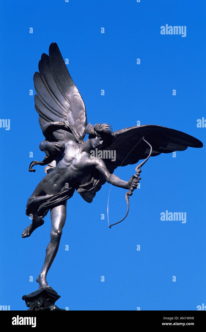 England,London,Picadilly Circus,Eros Statue - Stock Image