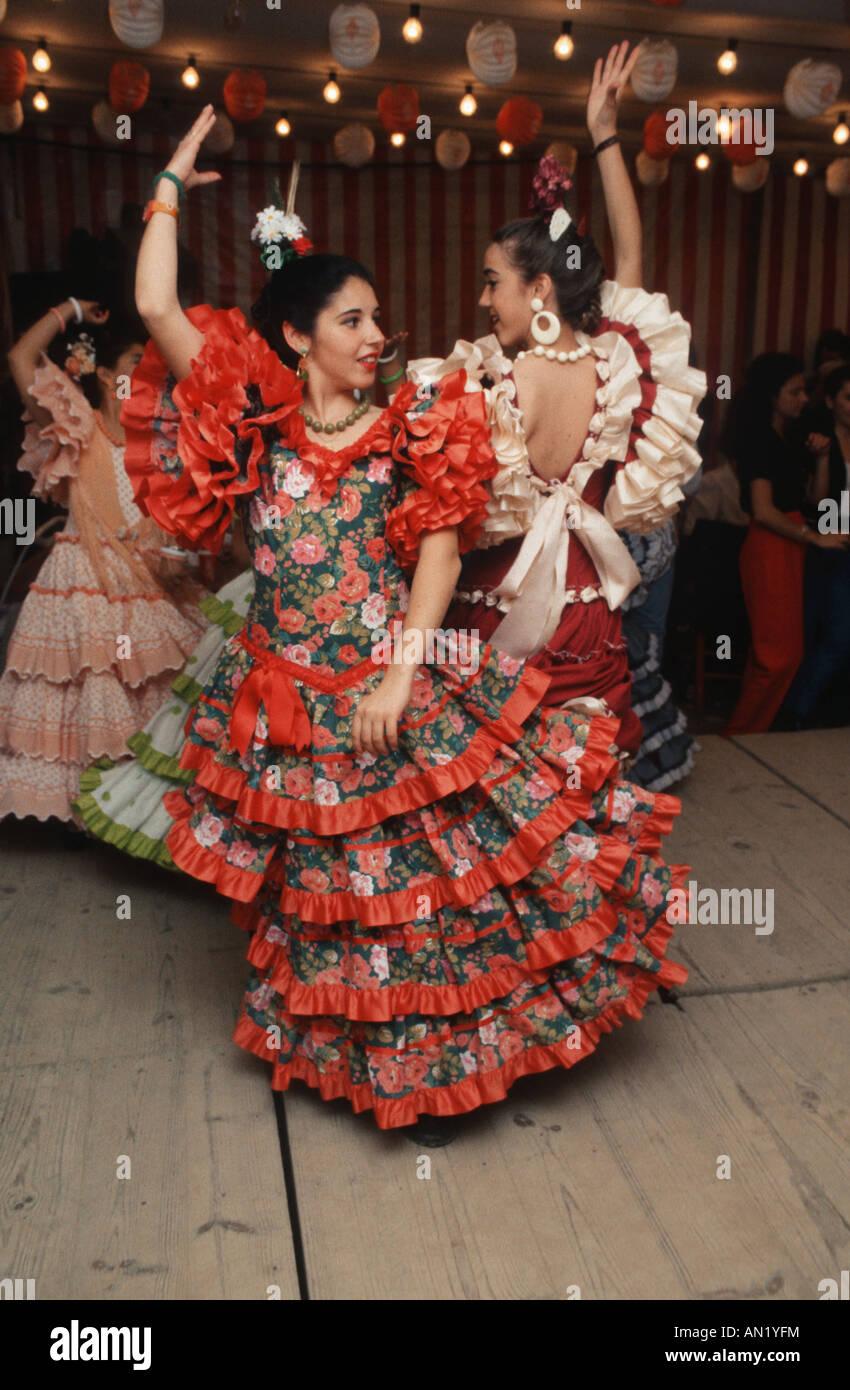 Flamenco dancing at Spring Fair, Seville. - Stock Image