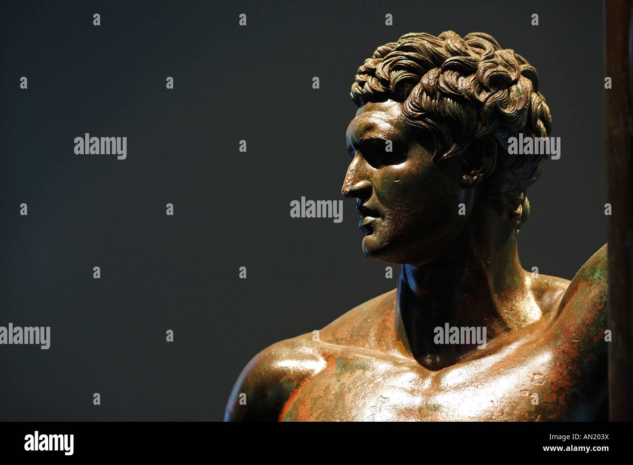 The bronze statue of a Hellenistic prince , Palazzo Massimo alle Terme, Rome, Italy Stock Photo