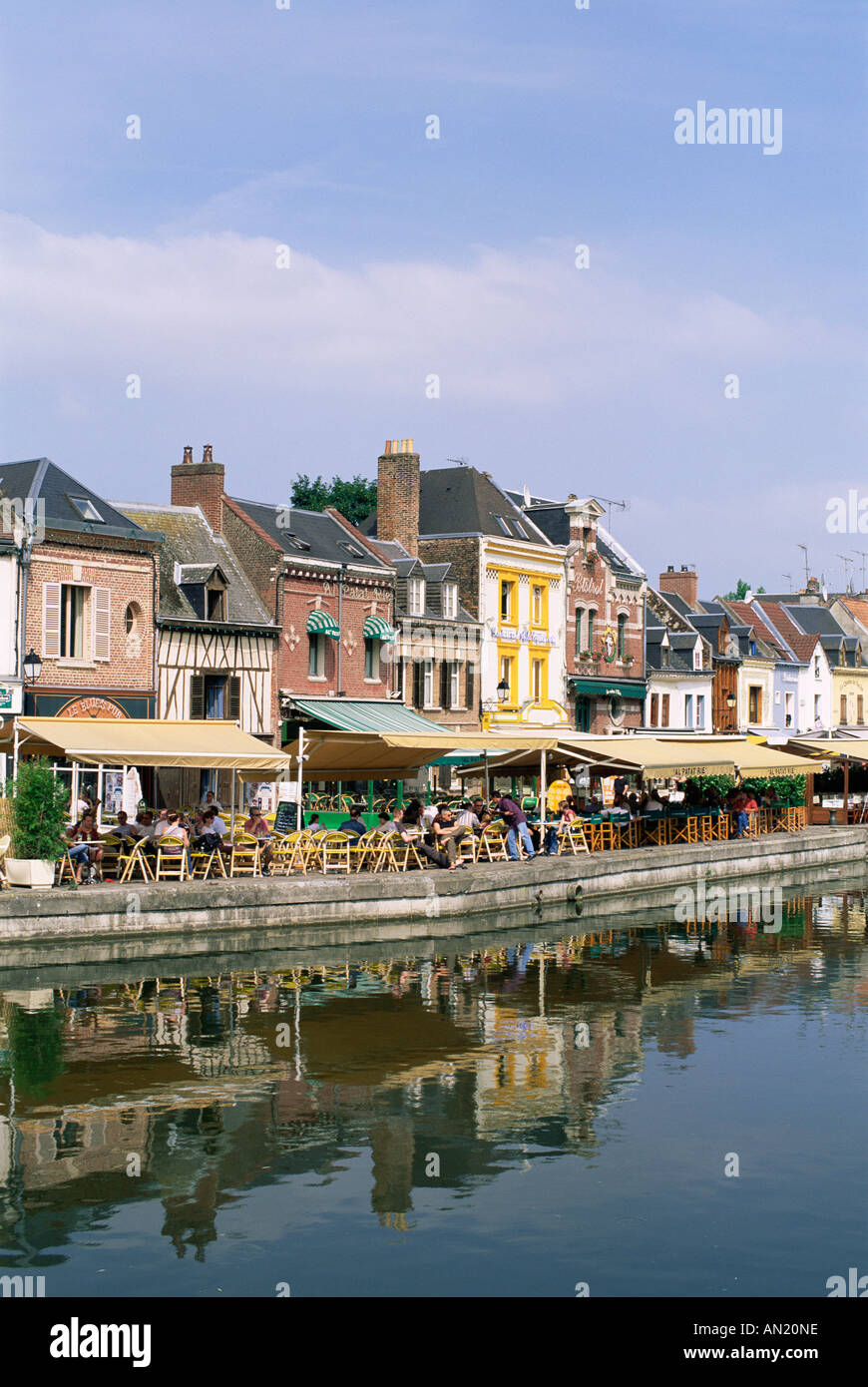 France, Picardy, Amiens, Waterside Restaurants at St.Leu Area Stock Photo