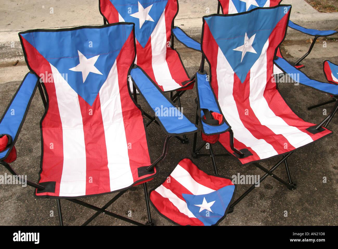 Miami Florida Little Havana Calle Ocho Festival Cuban fair folding chairs Puerto Rico flag theme : ocho beach chairs - Cheerinfomania.Com