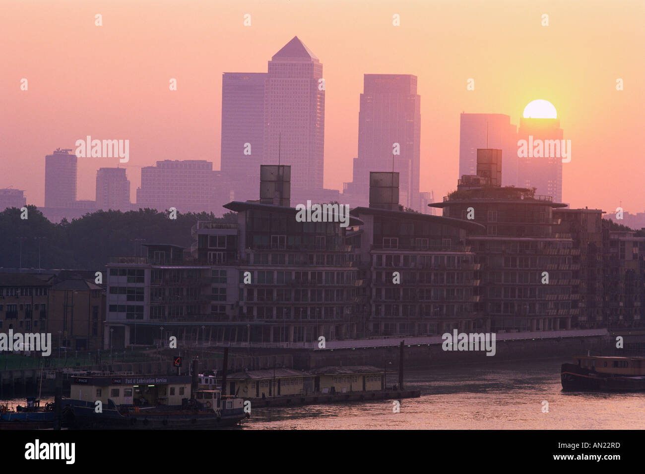 England, London, Docklands, Canary Wharf and Docklands Skyline - Stock Image