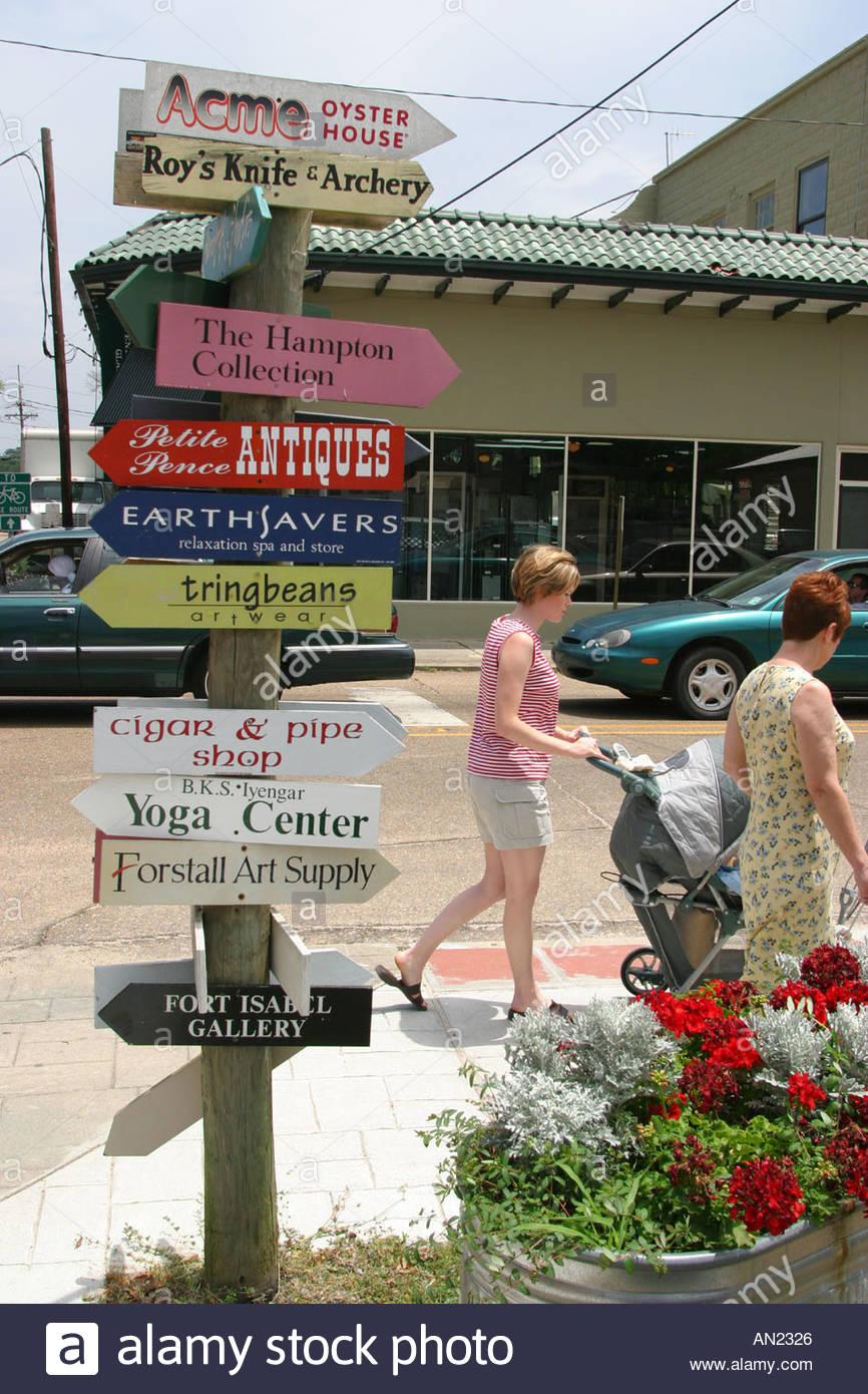 Louisiana St Tammany Parish Covington Columbia Street Shops Stock