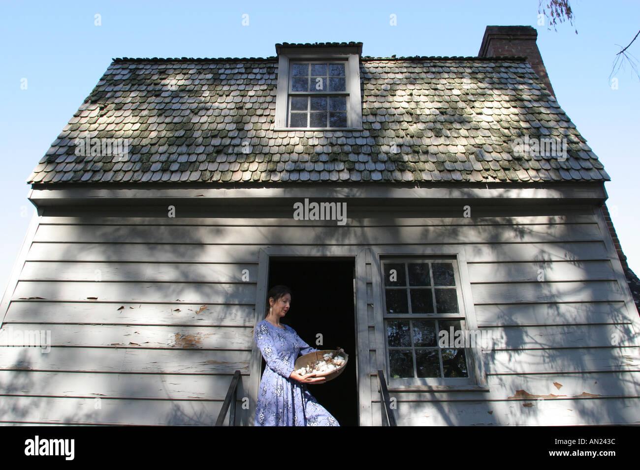 Raleigh North Carolina Mordecai Historic Park US President Andrew Johnson birth home guide period costume Stock Photo