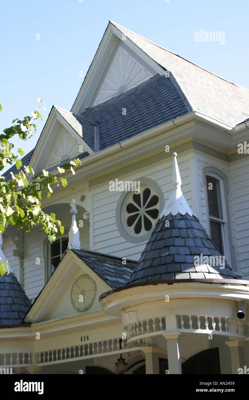 Raleigh North Carolina historic Oakwood community Victorian style home Stock Photo