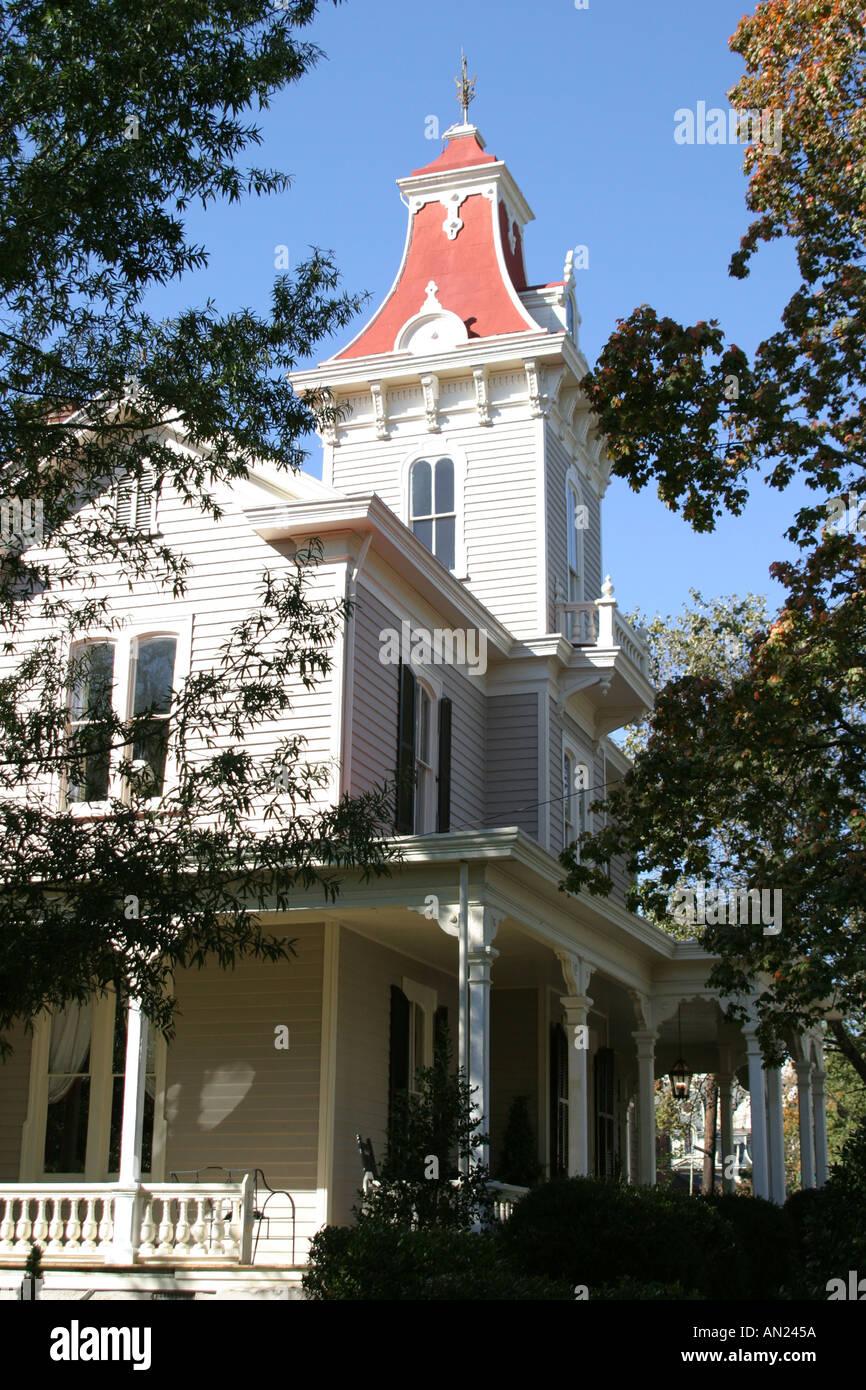 Raleigh North Carolina historic Oakwood community Oakwood Inn Victorian style home Stock Photo