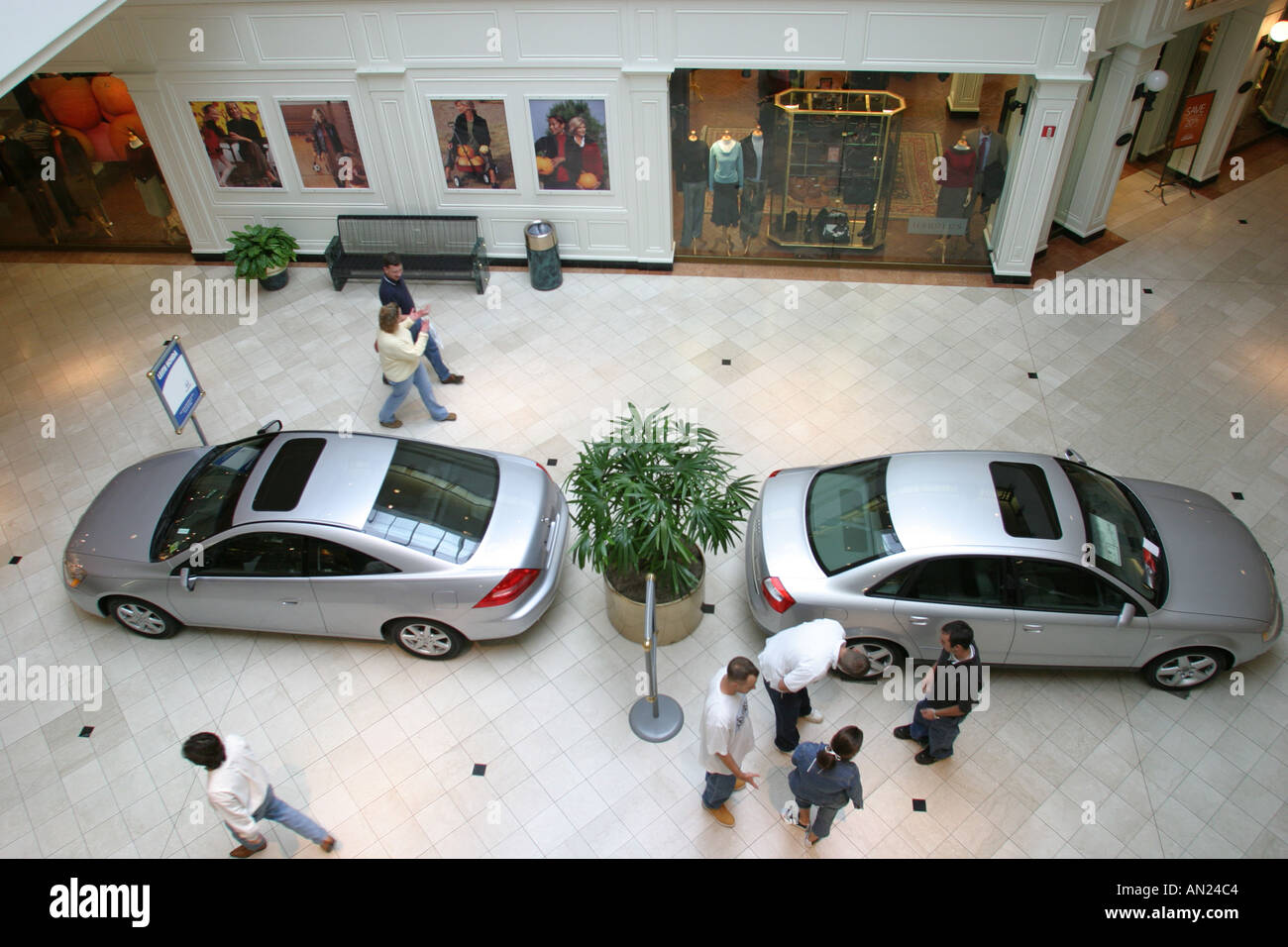 North Carolina, South, Tar Heel State, Wake County, Raleigh, Crabtree Valley Mall, largest, shopping shopper shoppers Stock Photo