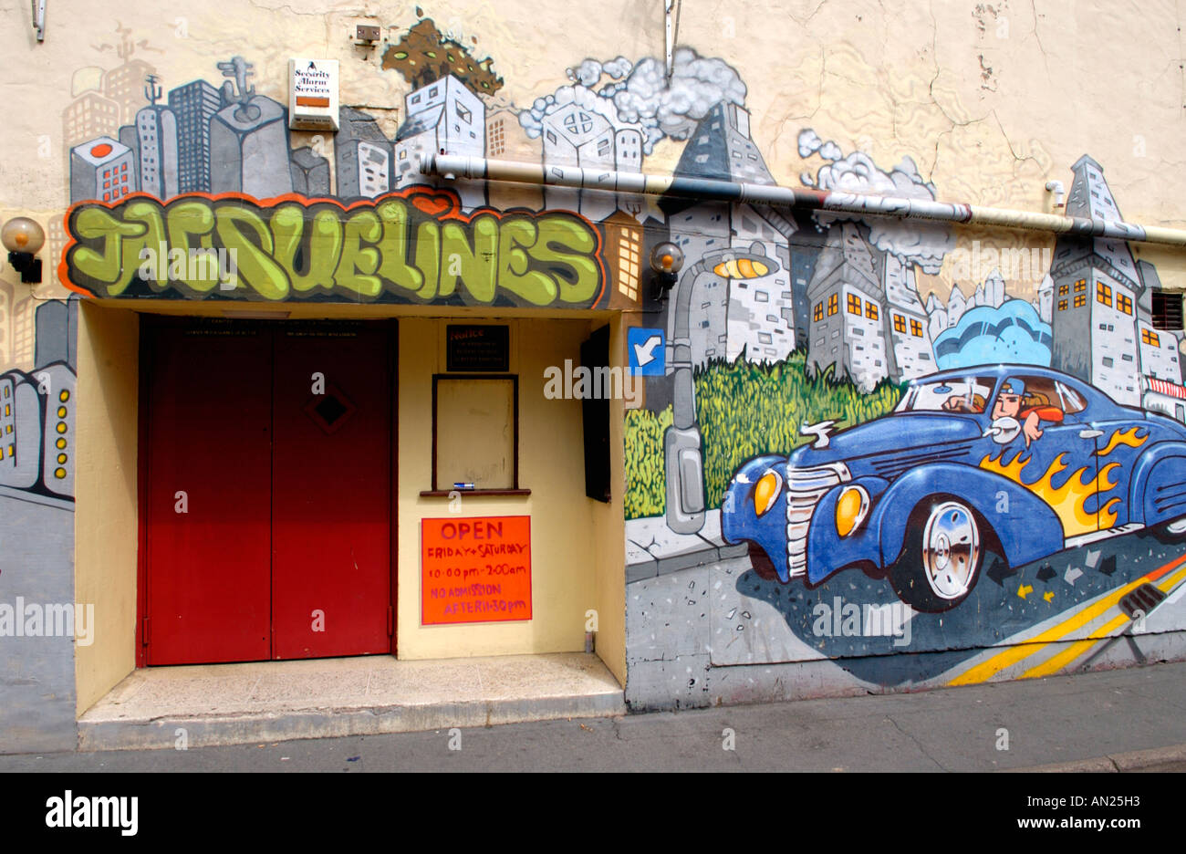 Official commercial graffiti art work on exterior wall of Jacquelines nite club in Ross on Wye Herefordshire England UK - Stock Image