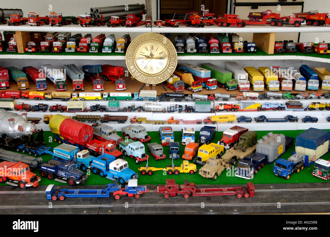 Collection of Scammell toy lorries - Stock Image