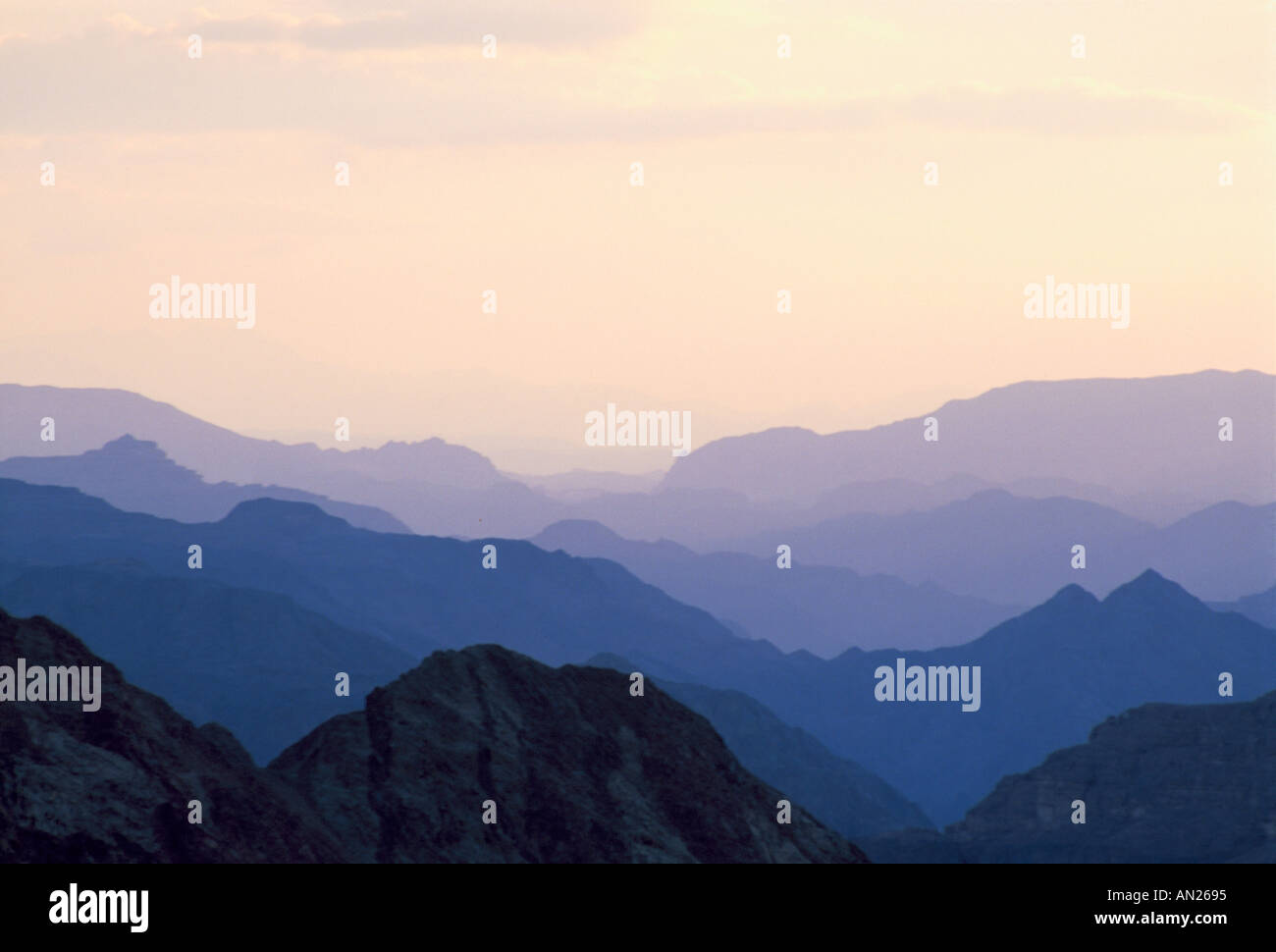Backlit mountains near Nuweiba Sinai - Stock Image