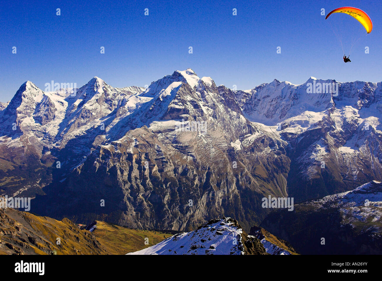 Look from Schilthorn to Eiger (l) Moench (m) and Jungfrau (r) Mountains Switzerland Berner Oberland Stock Photo