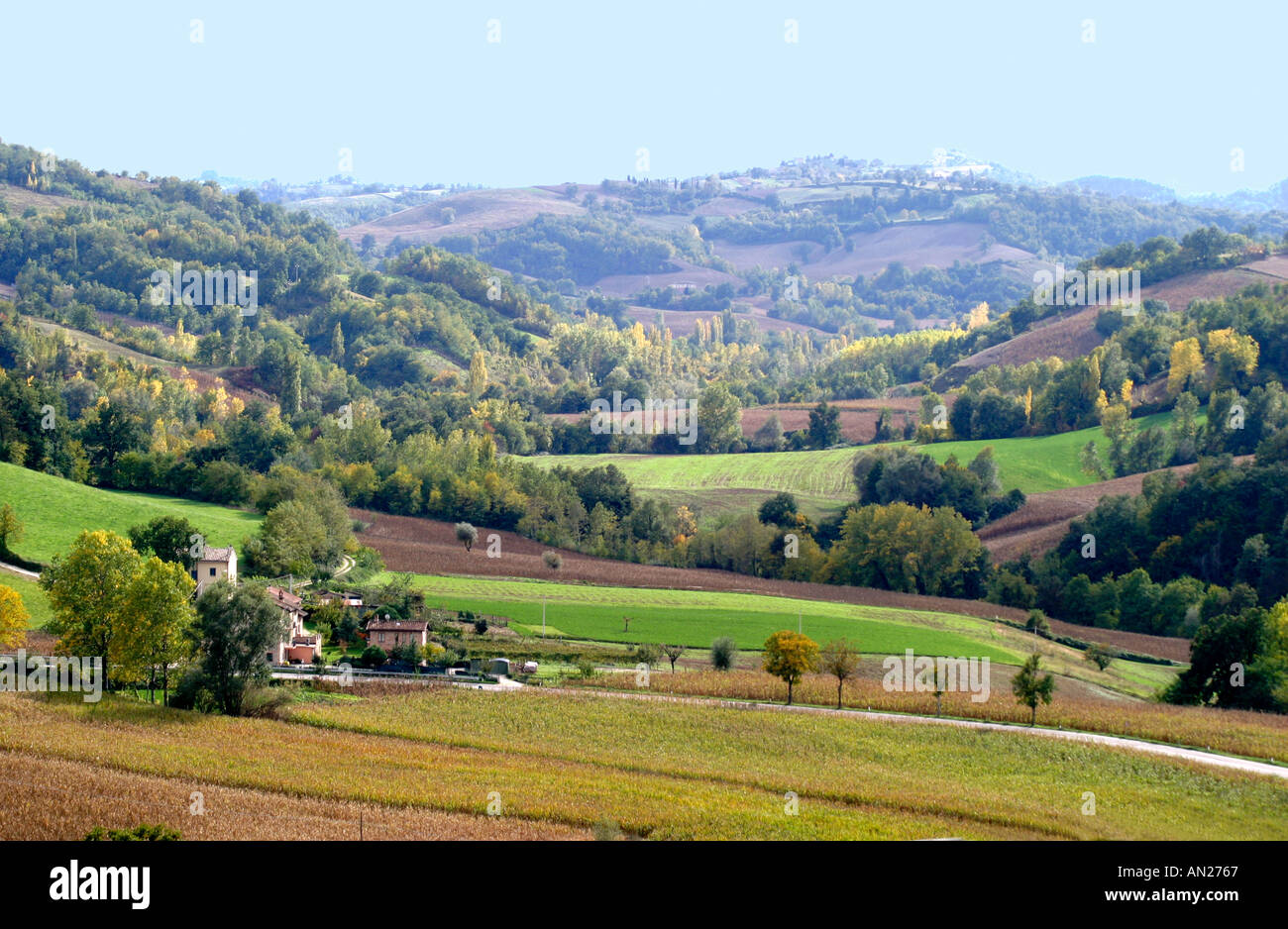 Beautiful Countryside panorama of the Le Marche province of Italy Stock Photo