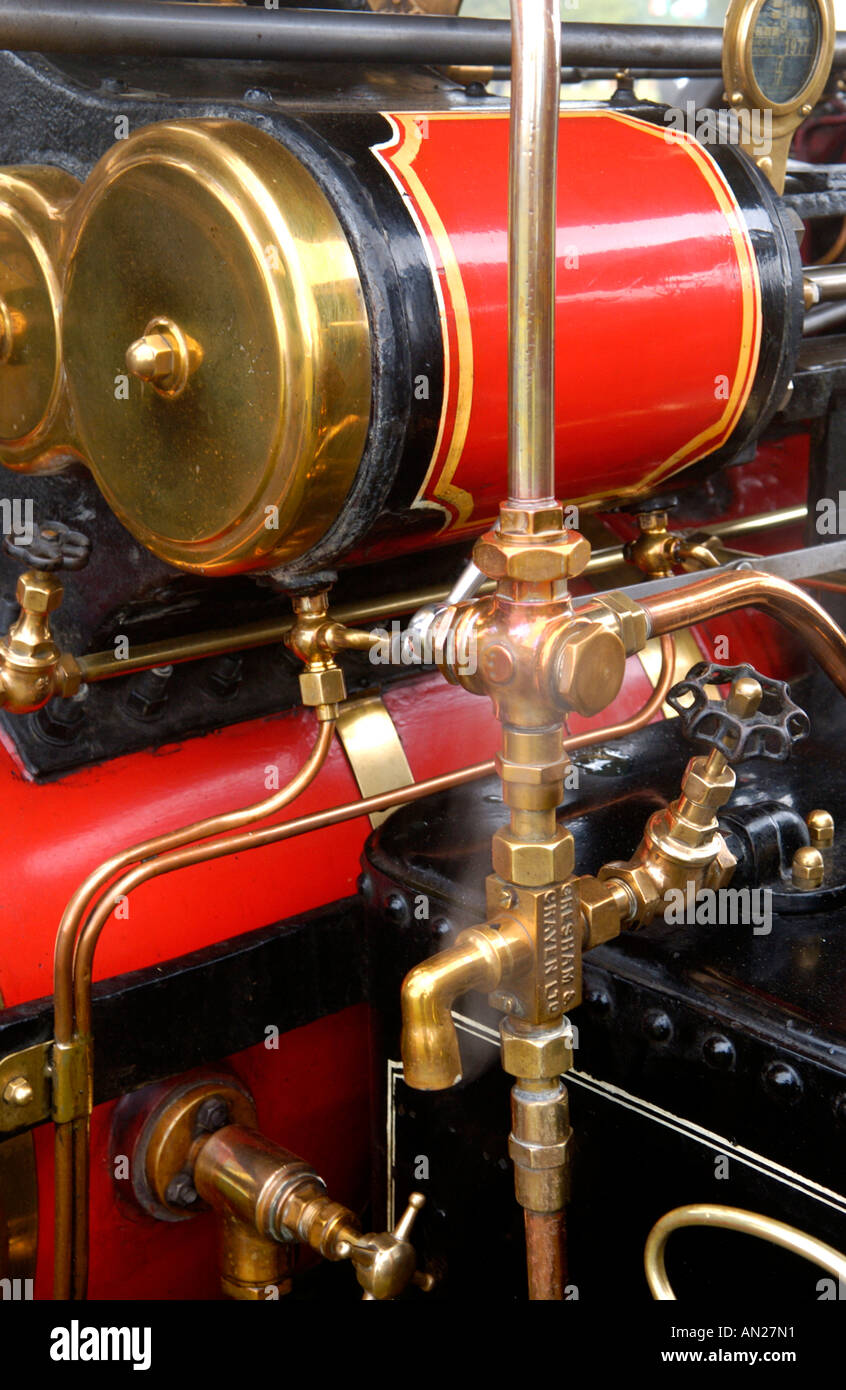 Detail of brass steam valves Wallis and Steevens Advanced 6 Ton Roller Registration number XO 4975 built in 1923 - Stock Image