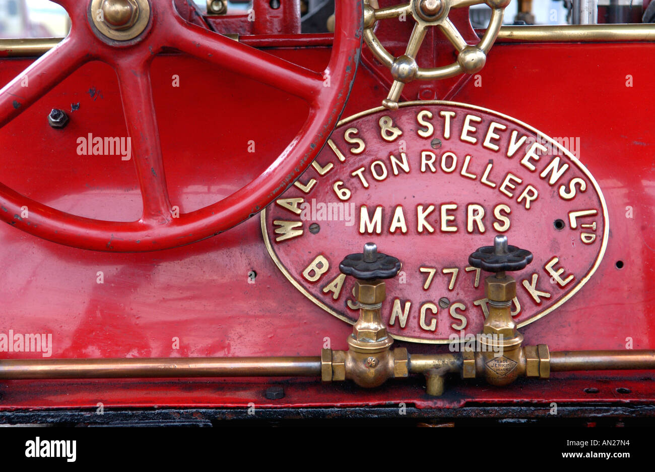 Detail of Wallis and Steevens of Basingstoke Advanced 6 Ton Steam Roller Registration number XO 4975 built in 1923 - Stock Image