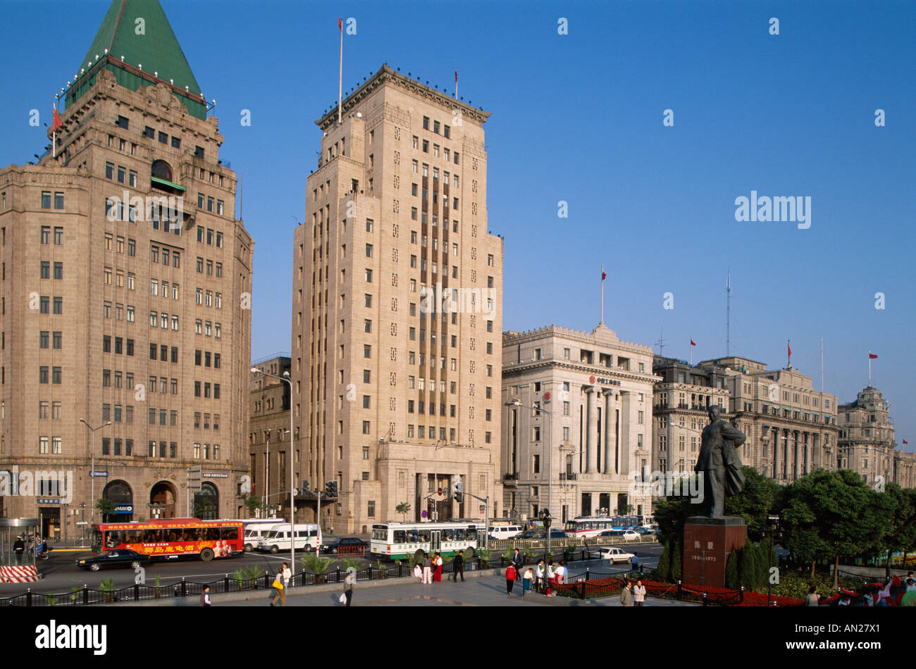 The Bund / Colonial Buildings / Historical 1920's Architecture, Shanghai, China - Stock Image