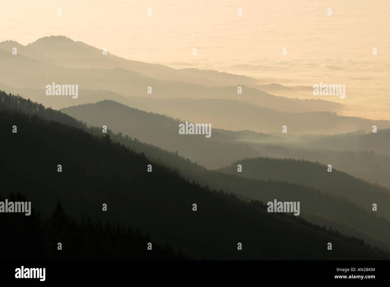 Blick vom Schauinslandaussichtsturm im Schwarzwald auf die Schweizer Alpen Deutschland Germany Look to the swiss Stock Photo