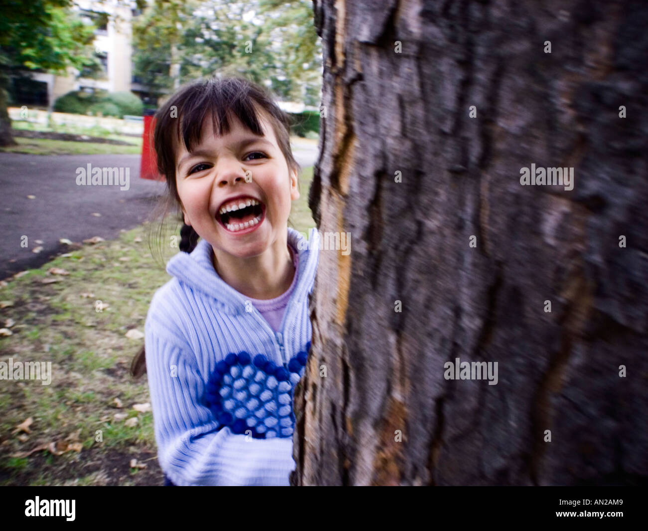 child hiding behind a tree-playing hide and seek,Richmond Park,Surrey,England - Stock Image