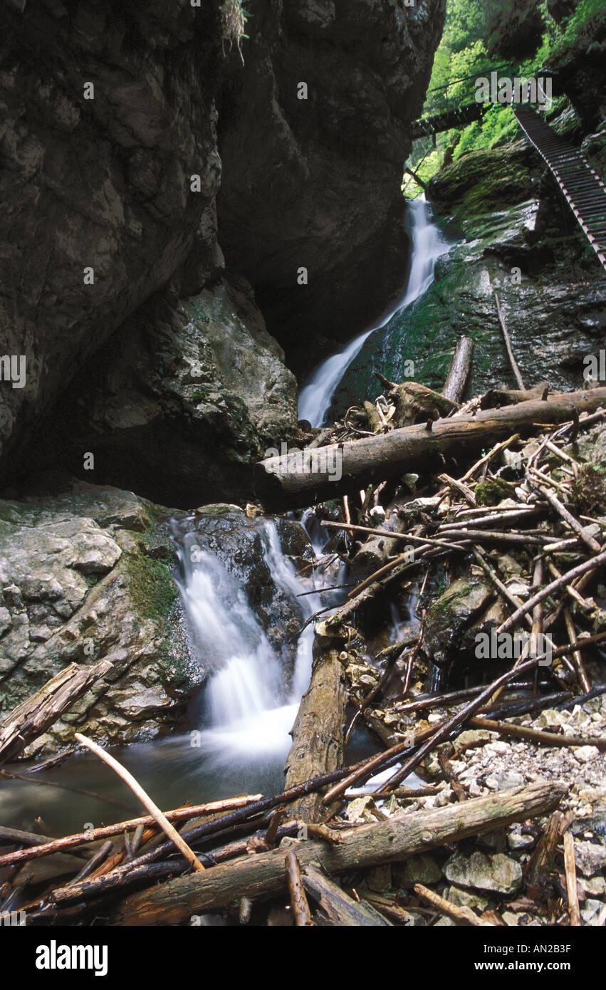 Velky Vodopad - Great waterfall in Slovensky raj national park, Slovakia Stock Photo