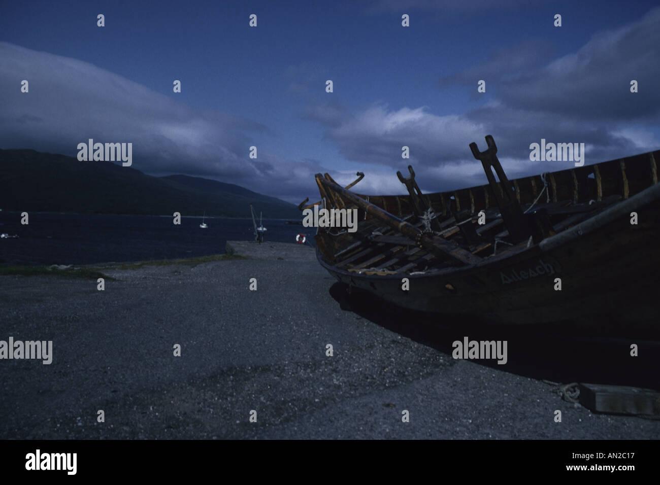 Viking longship at Isle Ornsay, Isle of Skye, Scotland - Stock Image