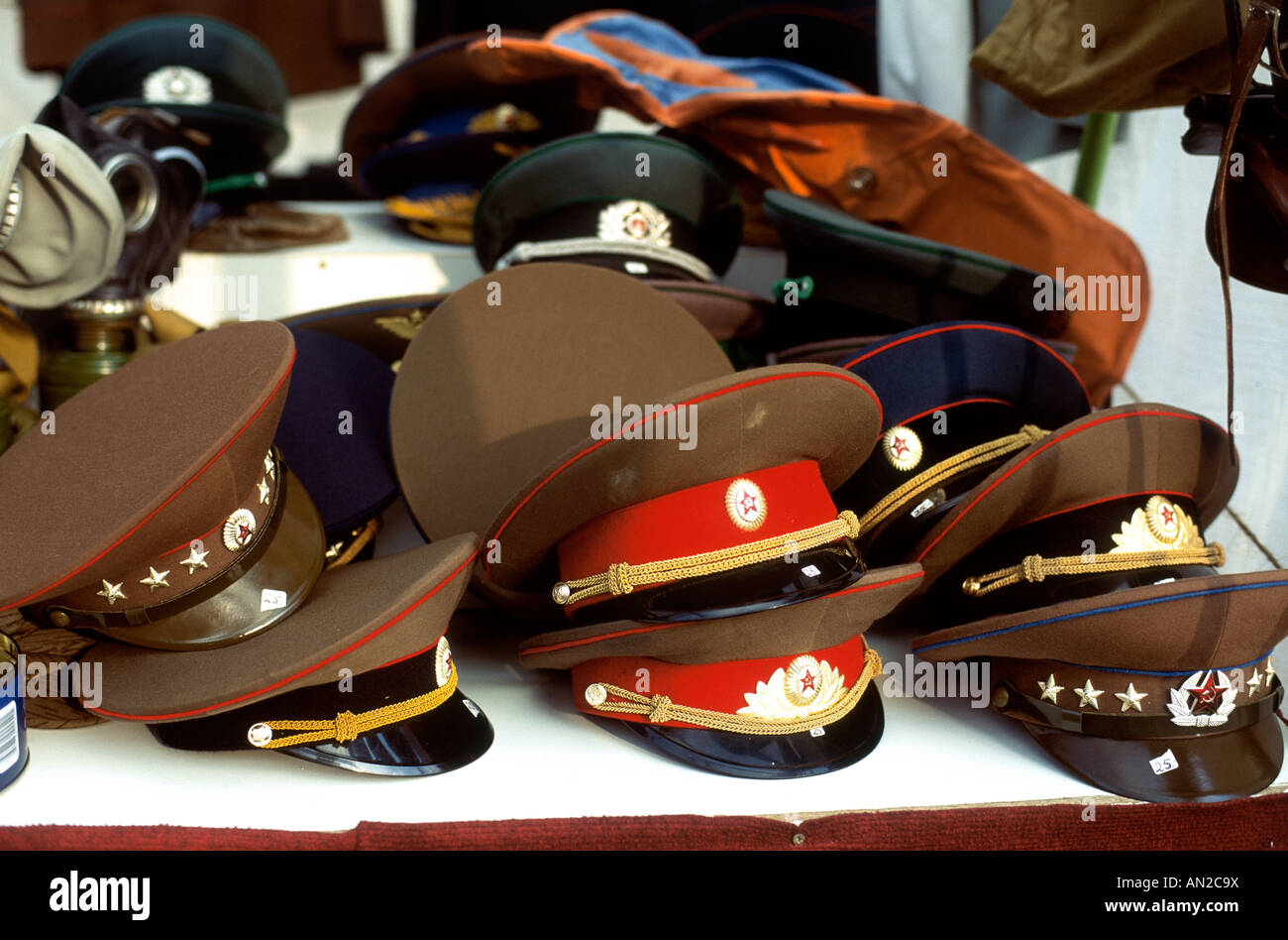 Berlin, East German Army Hats - Stock Image
