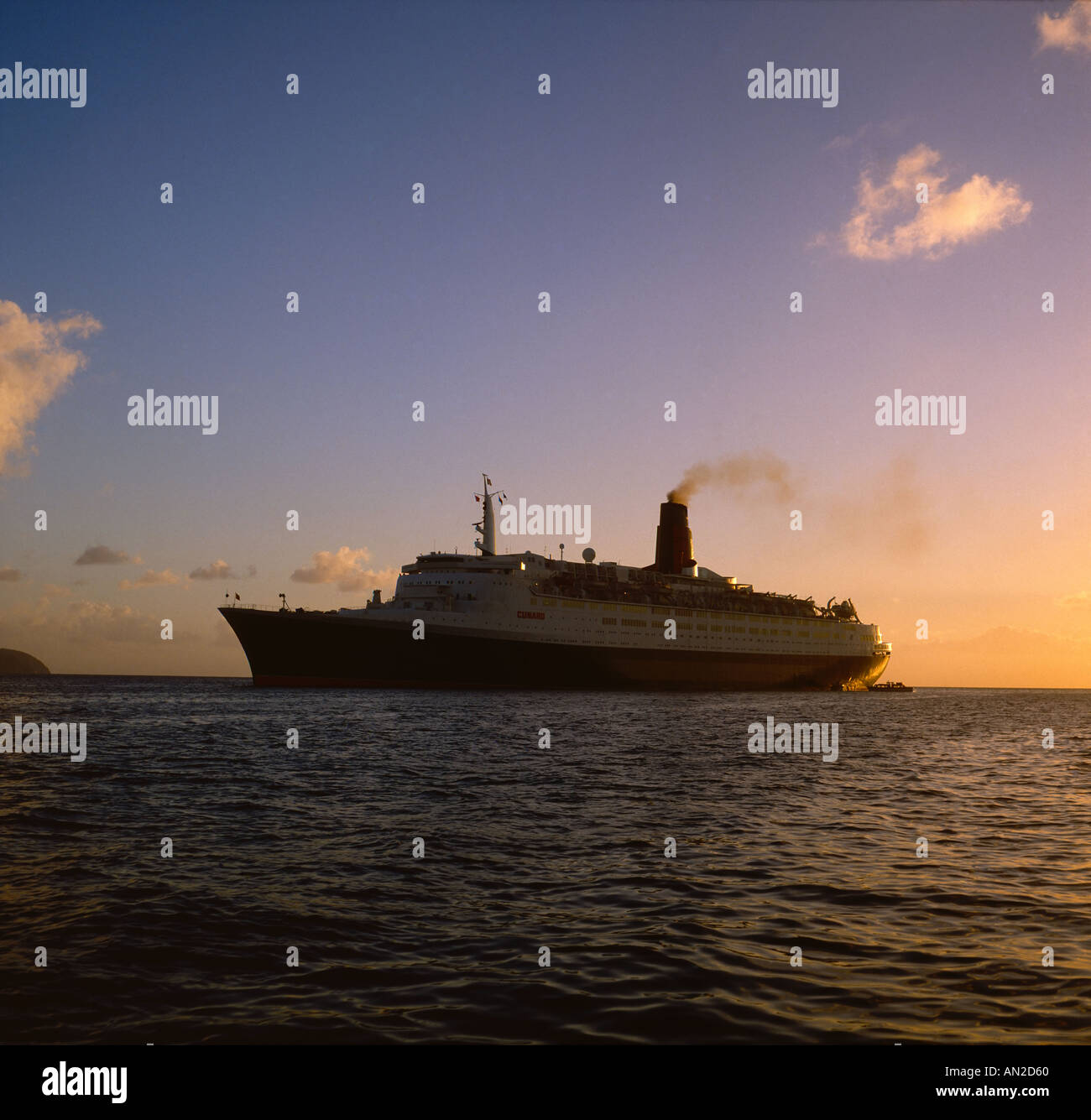 QE2 at anchor Martinique West Indies - Stock Image