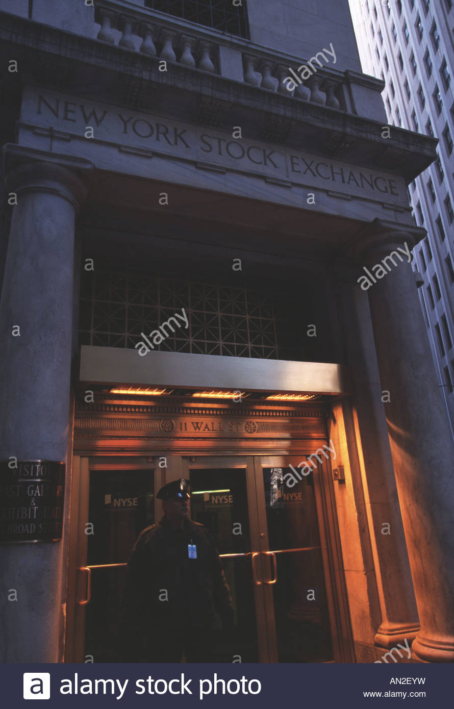 New York State, New York City, Wall Street and the Stock Exchange - Stock Image