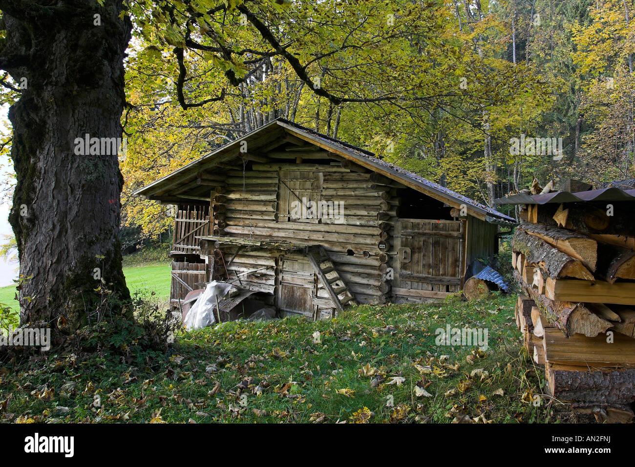 Almhuette Herbst Schweiz Berner Oberland Switzerland swiss Alps europe Stock Photo