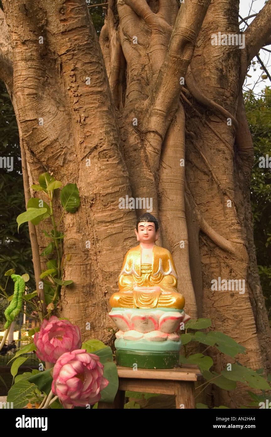 buddha image the One Pillar Pagoda Hanoi Northern Vietnam Stock Photo