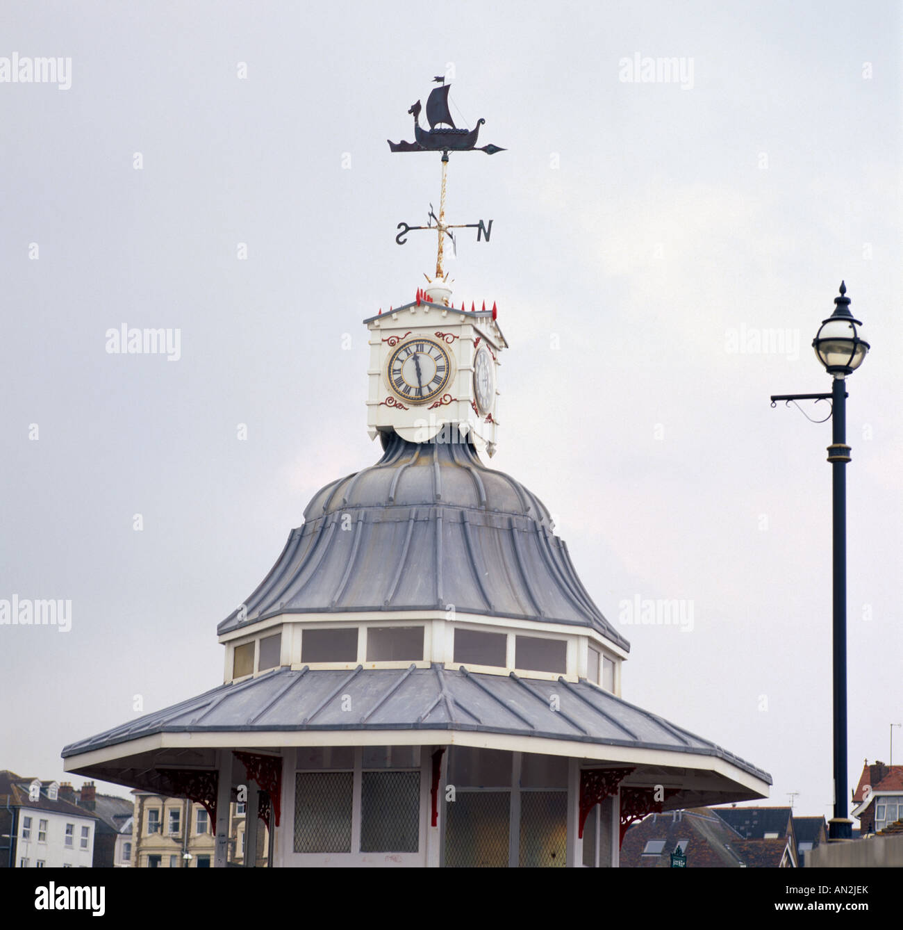 Viking Bay Bandstand in Broadstairs in Thanet in Kent in England in Great Britain in the United Kingdom UK. - Stock Image