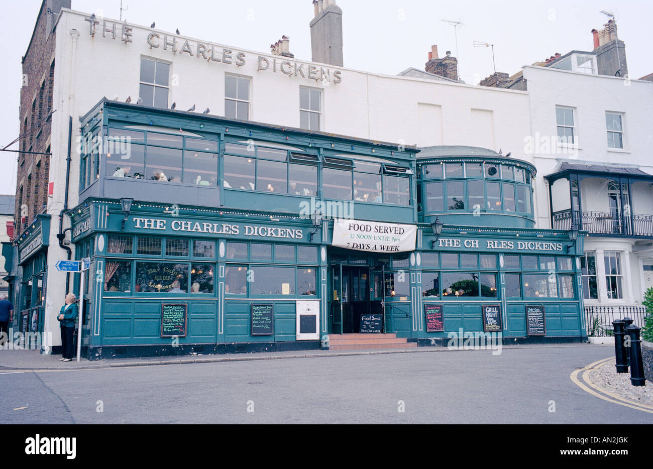 Charles Dickens pub in Broadstairs in Thanet in Kent in England in Great Britain in the United Kingdom UK. Public - Stock Image
