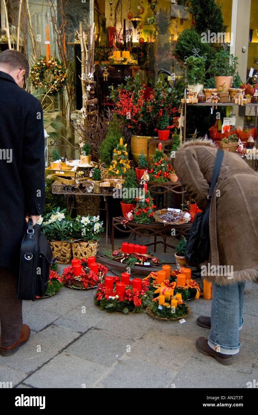 Colourful Christmas Flower Decorations And Dried Flower Arrangements At A  Shop In Vienna, Austria