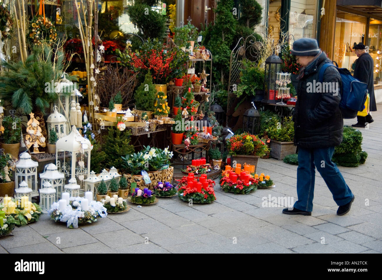 Colourful Christmas Flower Decorations And Dried Flower Arrangements Stock Photo Alamy
