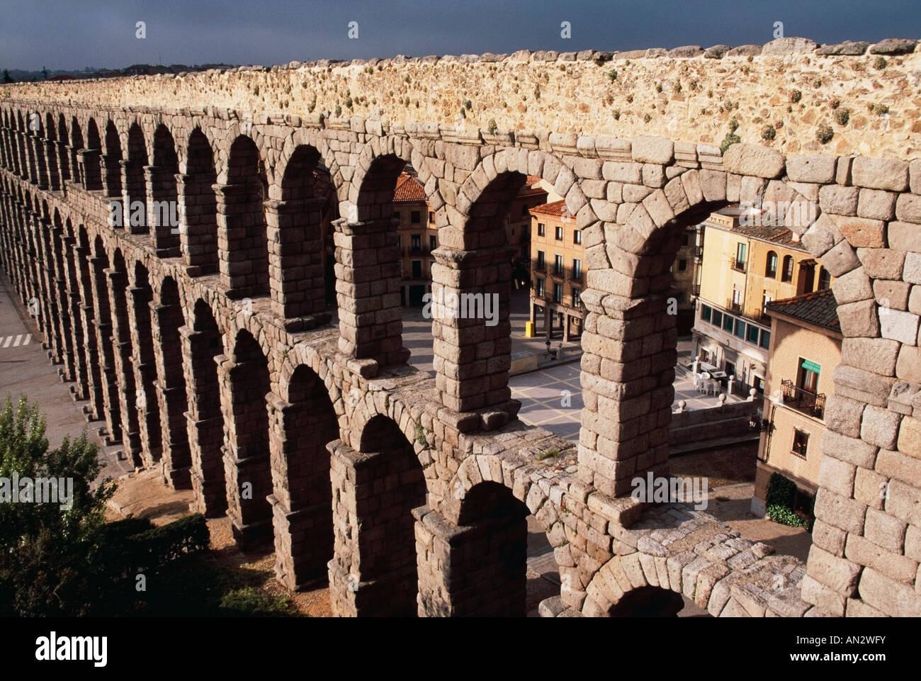 Roman Aqueduct, Segovia, Castile and Leon, Spain Stock Photo