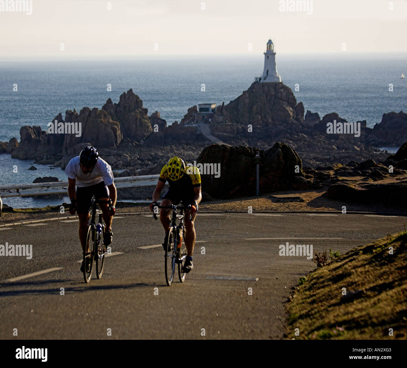 Jersey ,Channel Islands UK Great Britain UK GB Road Race Corbiere  With Corbiere Ligthouse in the background - Stock Image