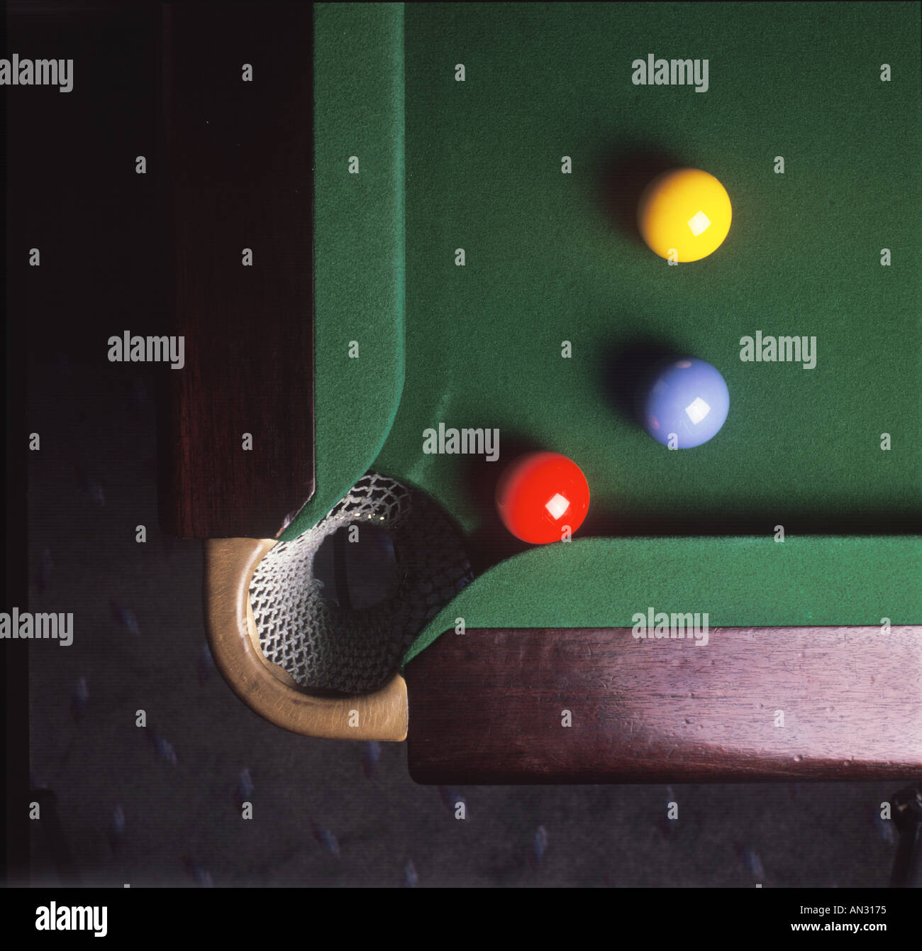 Billiards Pool Table, Close Up Detail Aerial View - Stock Image