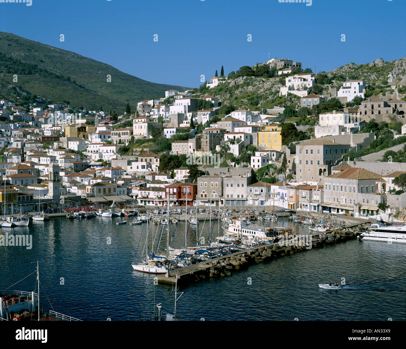 Town View & Harbour, Hydra (Ydra), Argo-Saronic Islands, Greece - Stock Image